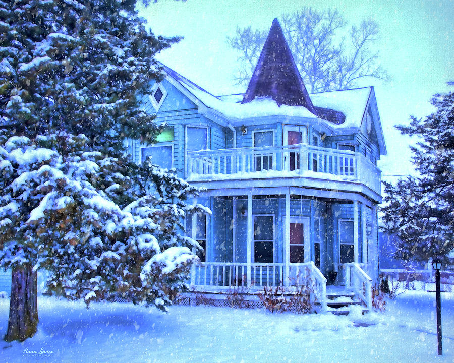 blue victorian house in snow anna louise 1 image