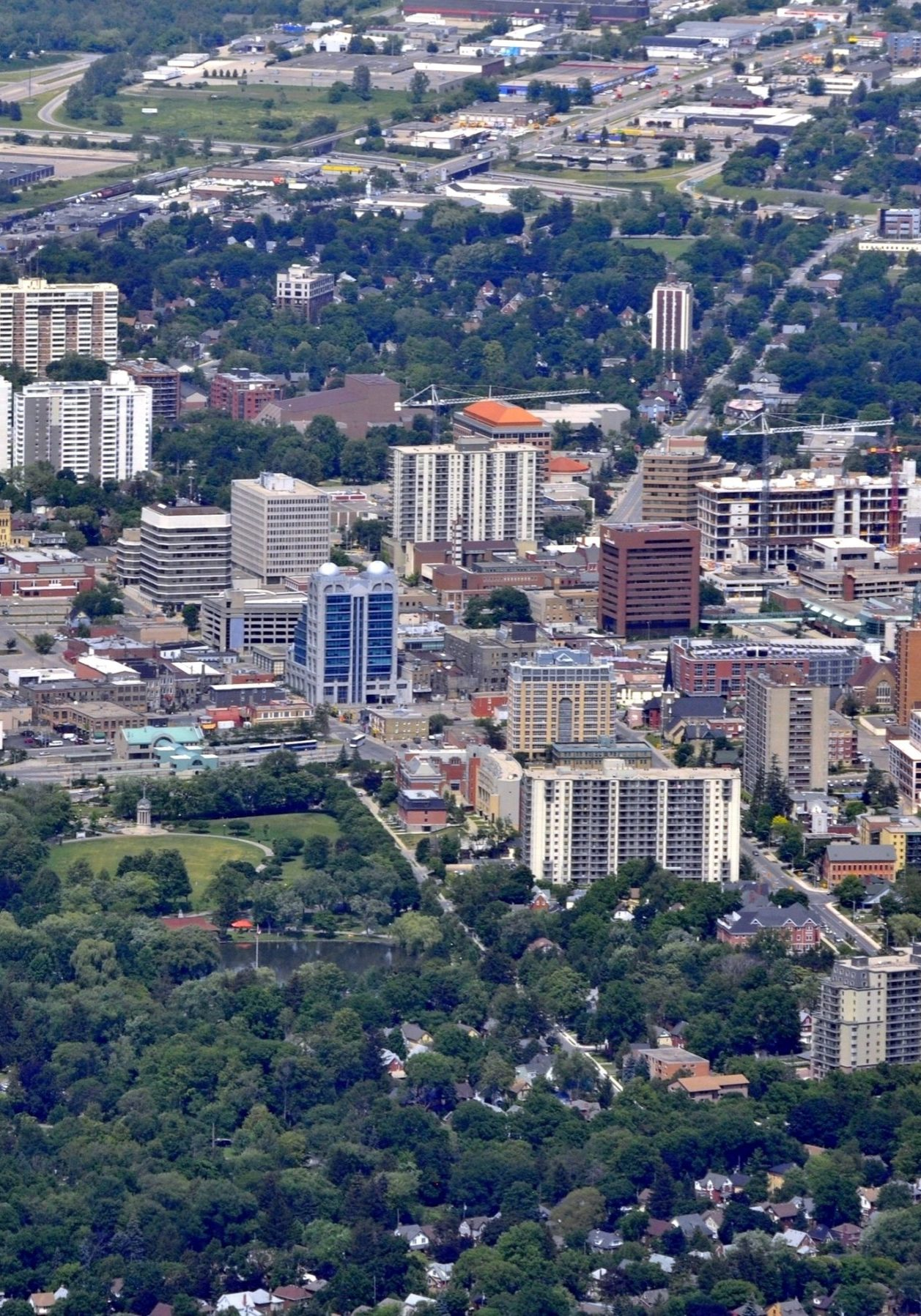 aerial view of  the downtown area Kitchener Waterloo, Ontario Canada